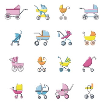 Baby carriage icons set