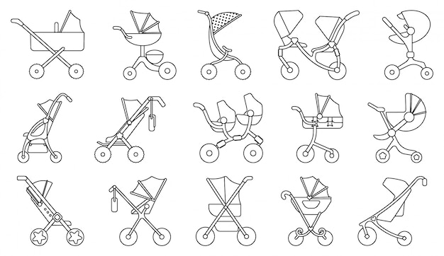 Baby carriage line  set icon.illustration of isolated line icon stroller for newborn. illustration baby pram.