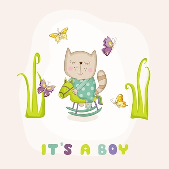 Baby cat on a horse arrival card