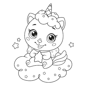 Baby cat unicorn with little star sitting on cloud coloring page