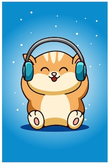 A baby cat wearing earphone hand drawing