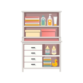 Baby changing table and dresser with diapers creams nipples