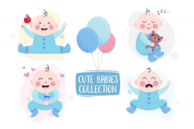 Baby character happy, crying and playing with bear