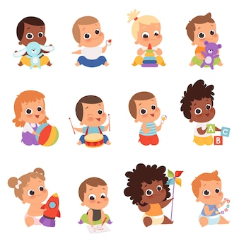 Baby characters. new born kids playing toys happy childhood small little one babies. illustration baby child newborn with teddy, playing toddler