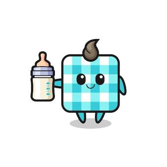 우유병이 있는 아기 체크 무늬 식탁보 만화 캐릭터, 티셔츠, 스티커, 로고 요소를 위한 귀여운 스타일 디자인