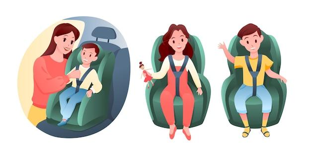 아기 어린이는 자동차 차량 좌석에 앉아 있습니다. 가족과 함께 도로 여행에 의자에 앉아 만화 행복 소년과 소녀 캐릭터, 어머니는 어린이 안전 안전 벨트를 씌우고