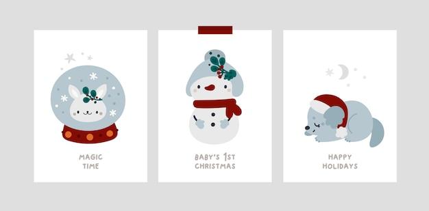 Baby christmas holiday milestone cards. festive xmas greeting cards