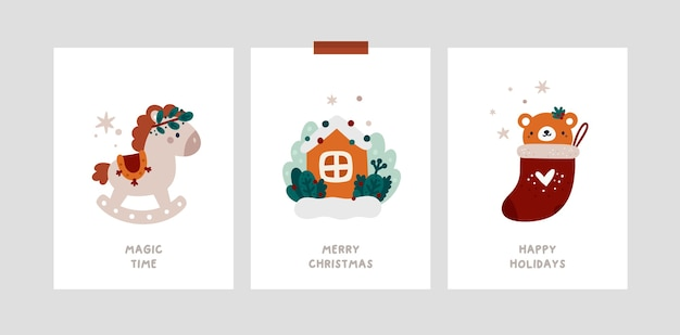 Baby christmas holiday milestone cards in scandinavian style. festive xmas greeting cards template