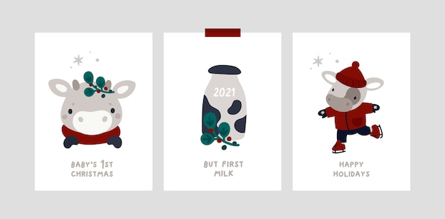 Baby christmas holiday milestone cards with little bull. festive xmas greeting cards