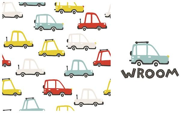 아기 도시 자동차. 귀여운 재미있는 전송으로 완벽 한 패턴입니다. 어린이를위한 간단한 유치한 손으로 그린 스칸디나비아 스타일의 만화 삽화. 간단한 파스텔 팔레트