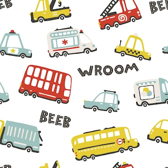 Baby city cars, seamless pattern with cute funny transport. cartoon illustrations in simple childish hand-drawn scandinavian style for children. fire, ambulance, police, bus, etc.