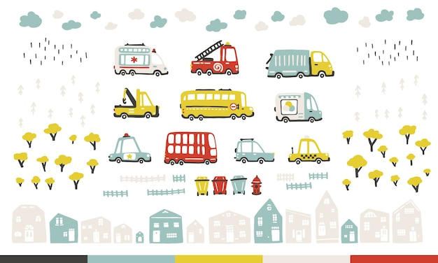 Baby city cars set with cute houses and trees. funny transport. cartoon illustration in simple childish hand-drawn scandinavian style for kids.