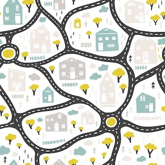 道路や建物、シームレスなパターンで赤ちゃんの街の地図。幼稚な手描きのスカンジナビアスタイルの漫画イラスト。保育室、テキスタイル、壁紙、包装、衣類などに。