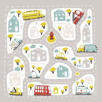 도로와 교통 아기 도시지도. 사각형 모양으로 새겨진 그림입니다. 유치 한 손으로 그린 스칸디나비아 스타일 만화. 보육실, 게임 카펫, 격자 무늬 등 인쇄
