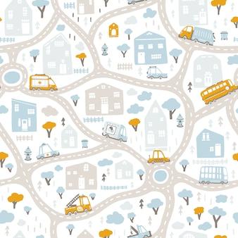 道路と交通機関のベイビーシティマップ。シームレスパターン。幼稚な手描きのスカンジナビアスタイルの漫画イラスト。保育室、テキスタイル、壁紙、包装、衣類など