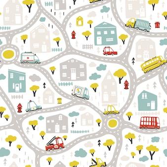 道路と交通機関のベイビーシティマップ。ベクターのシームレスなパターン。幼稚な手描きの北欧スタイルの漫画イラスト。