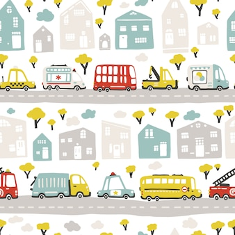 Baby city map with roads and transport. seamless pattern. cartoon illustration in childish hand-drawn scandinavian style. for nursery room, textile, wallpaper, packaging, clothing, etc