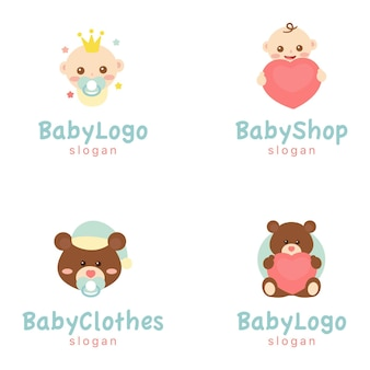 Baby clothes logo, brand ilustration, babies and bears, baby shop