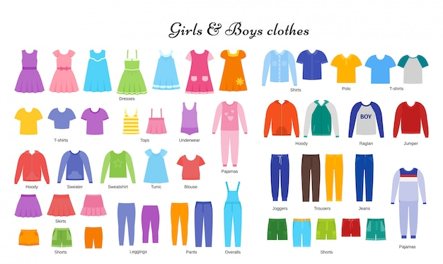 Комплект детской одежды. девушка, мальчик ткань. плоский дизайн. иллюстрации шаржа.