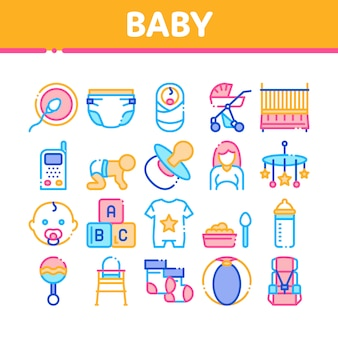 Baby clothes and tools collection icons set