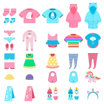 Baby clothes and toys vector cartoon set isolated.