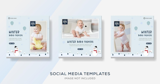 Baby clothing fashion sale banner template for social media