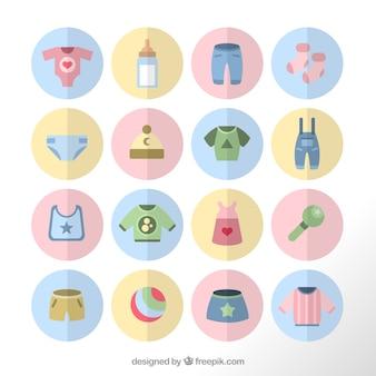 Abbigliamento da neonato icone in colori pastello