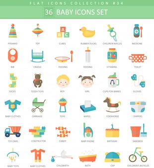 Baby color flat icon set.
