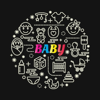 Baby colorful gradient with line icons set