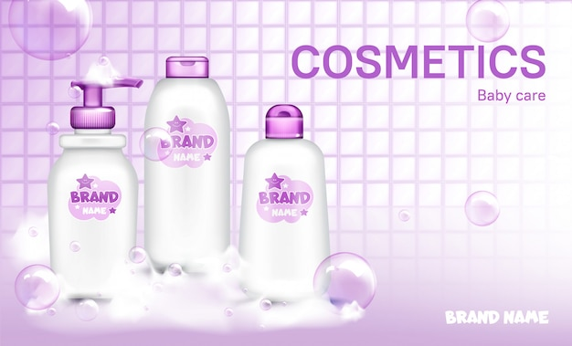 Baby cosmetic bottle design soap bubbles realistic