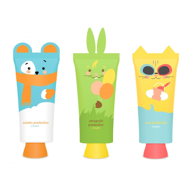 Baby cosmetic tubes with funny kids design.