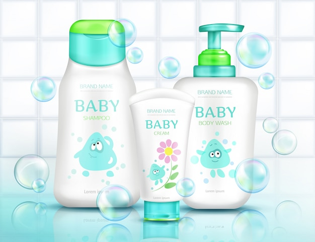 Baby cosmetics bottles for kids Free Vector