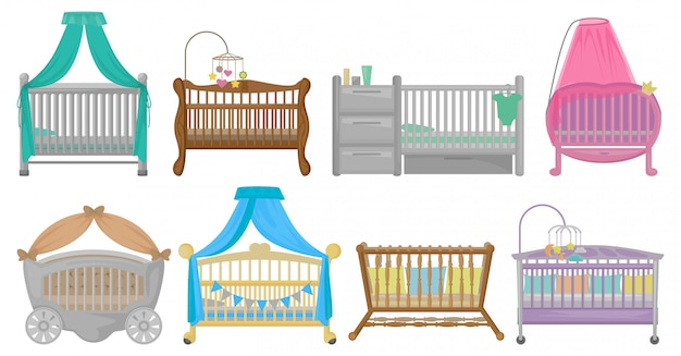 Baby cot illustration on white background. cartoon set icon crib bed.