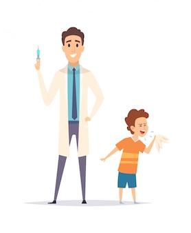 Детские кашель. маленький мальчик и доктор. защита от вируса гриппа, вакцинация. изолированный педиатр с шприцем и больной детской иллюстрацией
