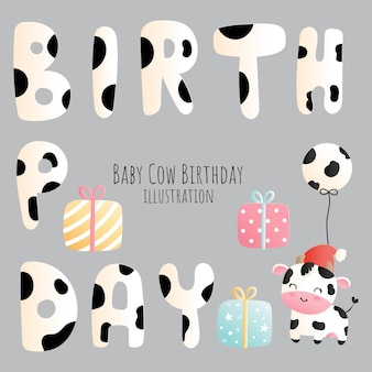 乳牛の誕生日、乳牛の要素、ペーパーカットスタイル。