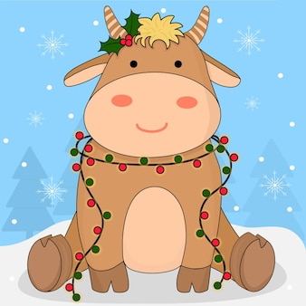 Baby cow bull cute animal character with holly berry and christmas light garland on winter backdrop