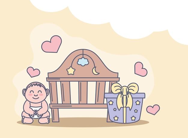 Детская кроватка и подарок