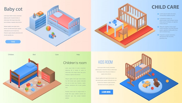 아기 침대 배너 세트입니다. 웹 디자인을위한 아기 침대 벡터 배너의 아이소 메트릭 세트