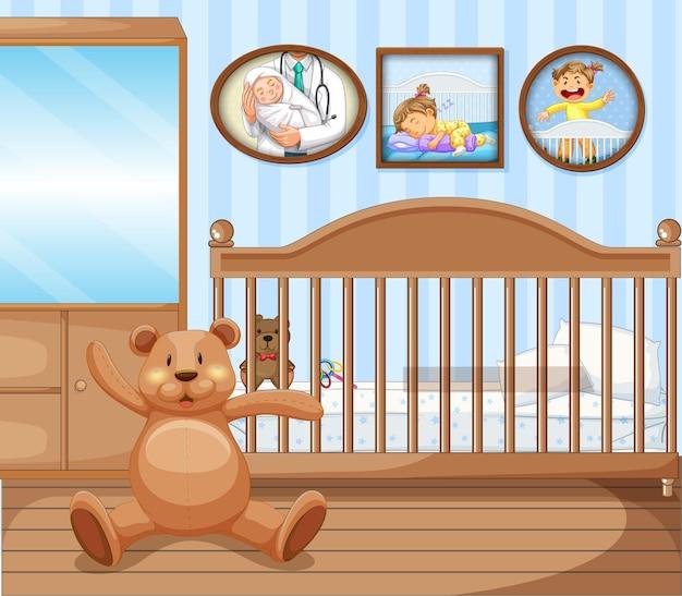 ベビーベッドの寝室のインテリア