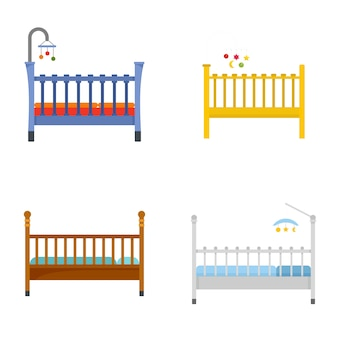 Baby crib cradle bed icons set