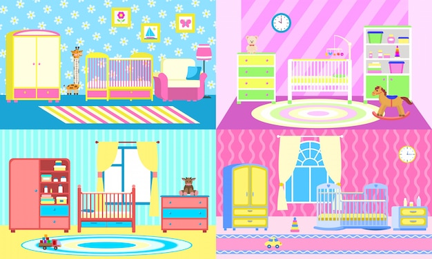 Baby crib illustration set, flat style