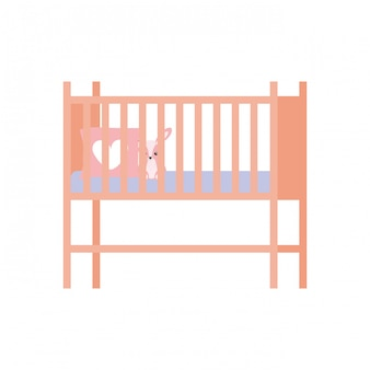 Baby crib or infant bed isolated icon