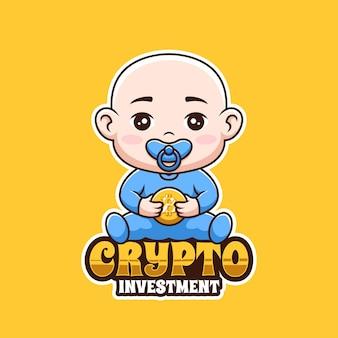 Baby crypto investment future cartoon creative logo design