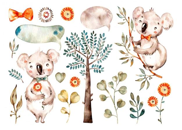 아기 귀여운 코알라. 수채화 보육 만화 호주 동물, 열대 나무, 잎.