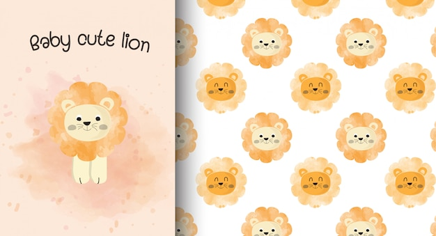 Baby cute lion card and pattern background.