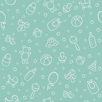 아기 귀여운 완벽 한 패턴입니다. 흰색 바탕에 어린이 텍스처. 낙서 스타일의 벡터 일러스트 레이 션.