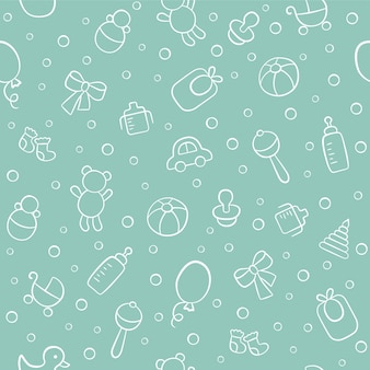 Baby cute seamless pattern. children texture on white background. vector illustration in doodle style.