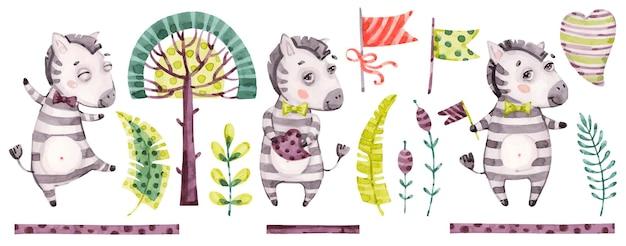 赤ちゃんかわいいゼブラ少年イラストデザイン
