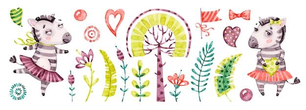 아기 귀여운 얼룩말 소녀. 수채화 보육 만화 정글 동물 말, 열 대 나무, 잎. 사랑스러운 보육원 사파리 세트