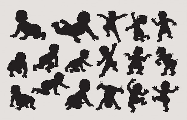 Baby dancing and crawling silhouette